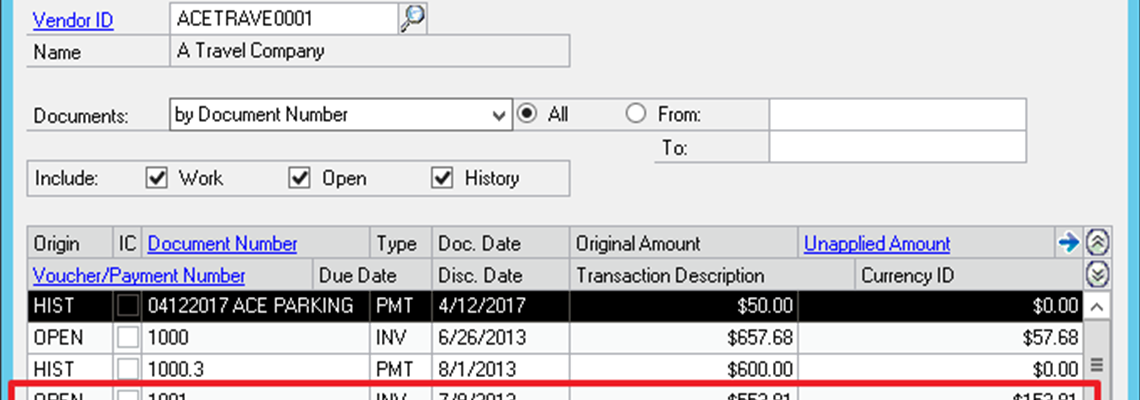 Apply Credit Memo to Partially Paid Invoice in Microsoft Dynamics GP