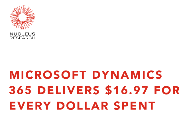 Nucleus Research: Microsoft Dynamics 365 Delivers $16.97 for Every Dollar Spent