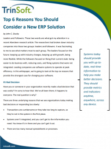 reasons to consider new erp solution