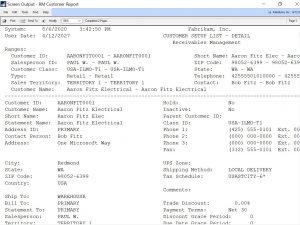 Maximum Print Output Screen Dynamics GP