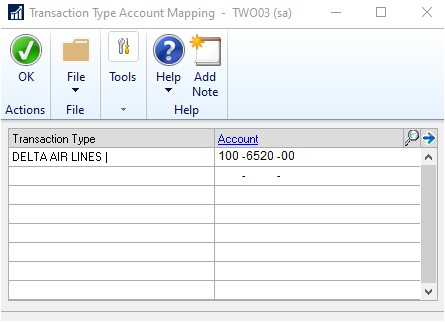 GP transaction type account mapping