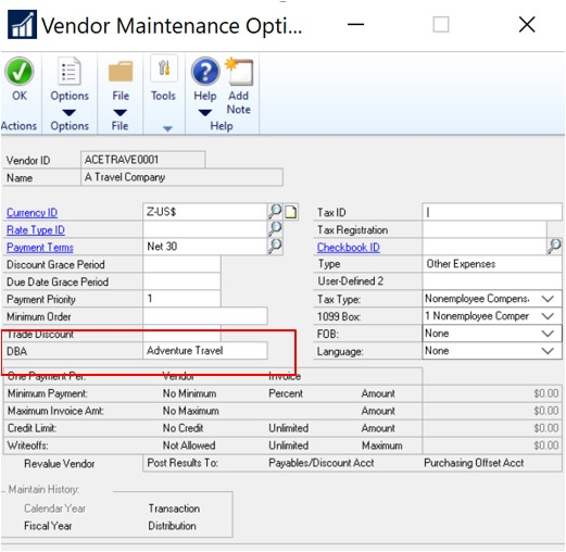Vendor Maintenance Dynamics GP