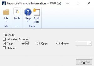 GP Automate Financial Full Reconcile